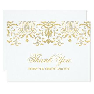 Cartão Obrigado liso você encanto do vintage do ouro do