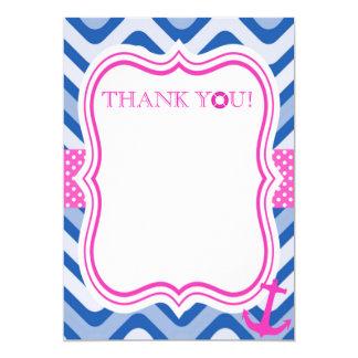 Cartão Obrigado litoral náutico da menina do rosa de mar