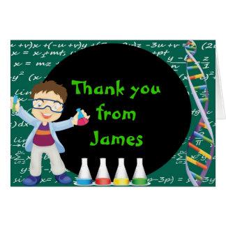Cartão Obrigado louco do cientista do menino triguenho
