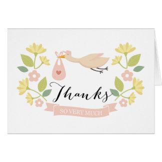 Cartão Obrigado lunático do chá de fraldas da cegonha