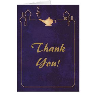 Cartão Obrigado mágico árabe do casamento da lâmpada você