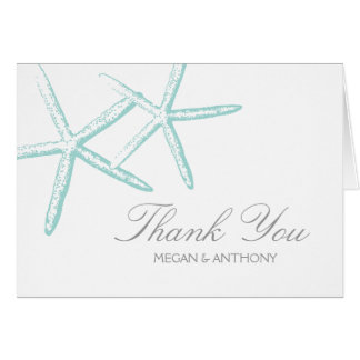 Cartão Obrigado magro da estrela do mar dois você