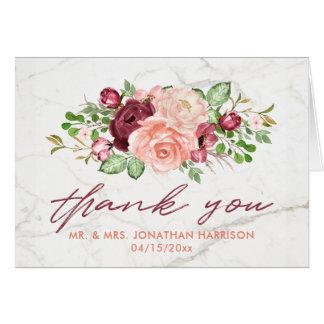 Cartão Obrigado malva de mármore elegante do pêssego de