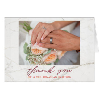Cartão Obrigado malva elegante da foto do pêssego de