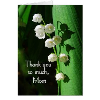 Cartão Obrigado, mamã, lírio do vale