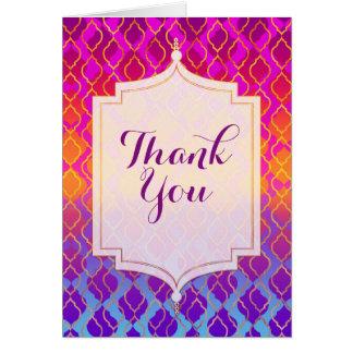 Cartão Obrigado marroquino árabe do tema das cores