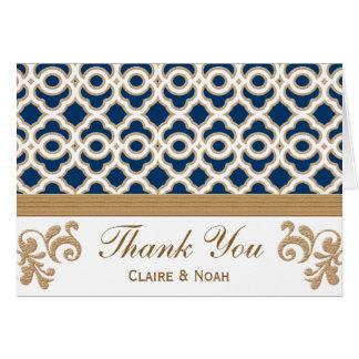 Cartão Obrigado marroquino dos azuis marinhos e do ouro