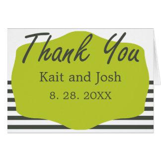 Cartão Obrigado minimalista elegante do verde morno do