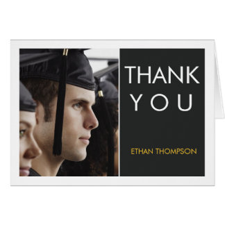 Cartão Obrigado moderno da graduação da foto do bloco