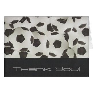 Cartão Obrigado moderno das bolas de futebol você
