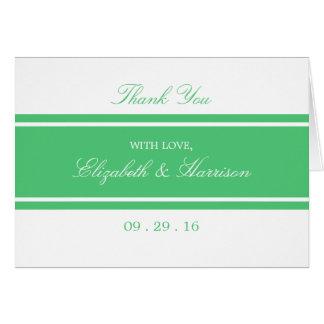 Cartão Obrigado moderno do casamento do verde esmeralda