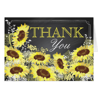 Cartão Obrigado moderno do quadro do girassol você