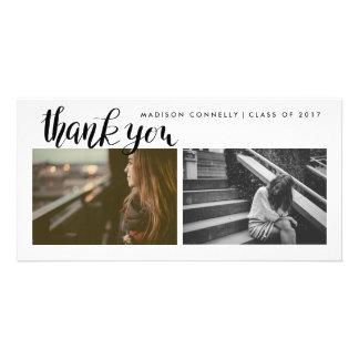 Cartão Obrigado moderno você foto graduada escrita à mão
