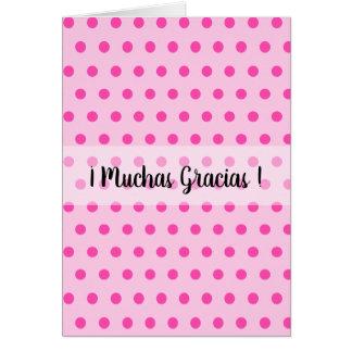 Cartão Obrigado muitas bolinhas cor-de-rosa de Muchas