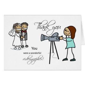 Cartão Obrigado mulher Videographer, Wedding
