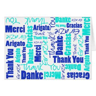 Cartão Obrigado multilingue do azul e da turquesa você