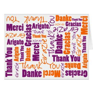 Cartão Obrigado multilingue roxo e alaranjado você