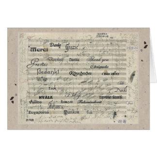 Cartão Obrigado multilingue você contagem da música