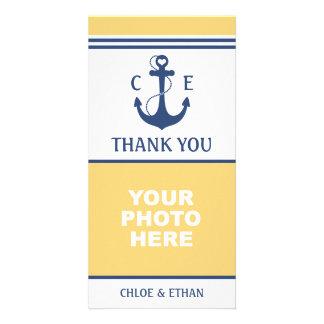 Cartão Obrigado náutico amarelo e azul da foto você