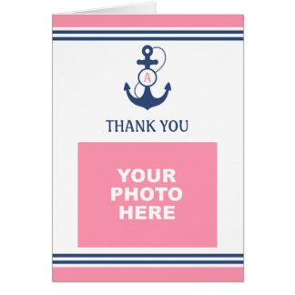 Cartão Obrigado náutico cor-de-rosa da foto você