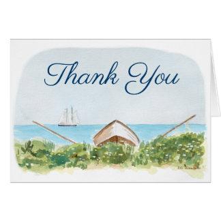 Cartão Obrigado náutico da praia você notas com barco de