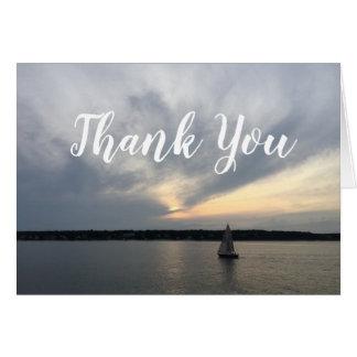 Cartão Obrigado náutico do barco de vela você notas