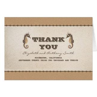 Cartão obrigado náutico do casamento de dois cavalos