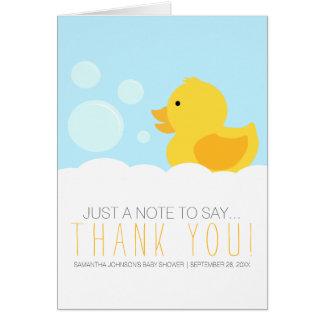 Cartão Obrigado neutro amarelo Ducky de borracha do chá