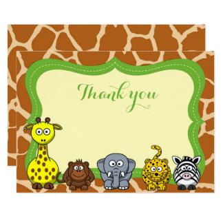 Cartão Obrigado neutro animal do bebê do safari de selva