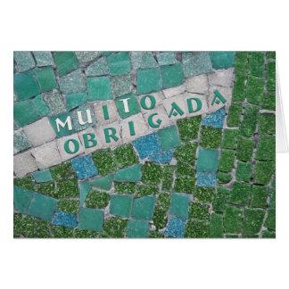 Cartão Obrigado no português, da fêmea