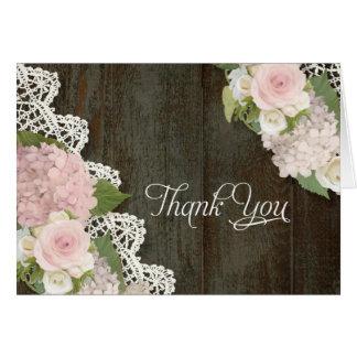 Cartão Obrigado nota de madeira escuro floral dos