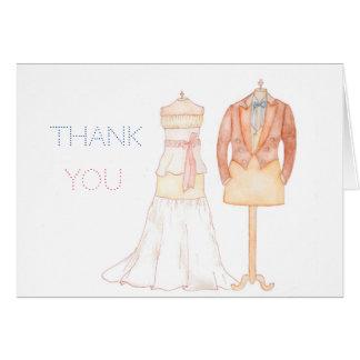 Cartão Obrigado nota do casamento do watercolour com