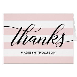 Cartão Obrigado nota listras rosas pálido de |
