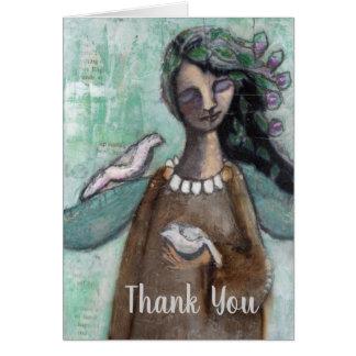 Cartão Obrigado notar com o anjo, pintado mão