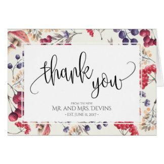 Cartão Obrigado notar o quadro floral que dobra Notecard