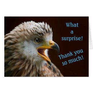Cartão Obrigado notas para a surpresa, foto surpreendida