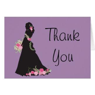 Cartão Obrigado nupcial você mostra em silhueta o vestido
