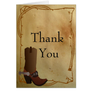 Cartão Obrigado ocidental da bota de vaqueiro você