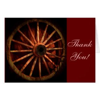 Cartão Obrigado ocidental da roda de vagão do vaqueiro