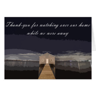 Cartão Obrigado olhando sobre nossa casa