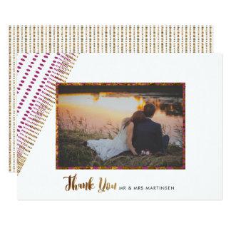 Cartão Obrigado opulento do casamento do ouro do roxo e