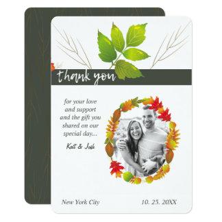 Cartão Obrigado oval de queda do carvão vegetal do