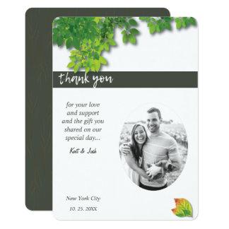 Cartão Obrigado oval do carvão vegetal do carvalho do