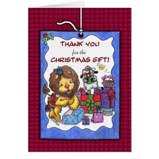 Cartão Obrigado para o Presente-Leão e o cordeiro do