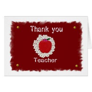 Cartão Obrigado para o professor, maçã