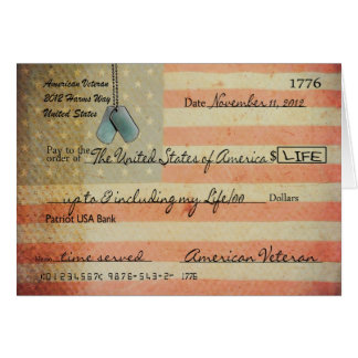 Cartão Obrigado para o veterano no dia de veteranos
