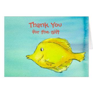 Cartão Obrigado para os peixes de Tang do amarelo do