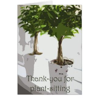 Cartão Obrigado para planta-sentar-se