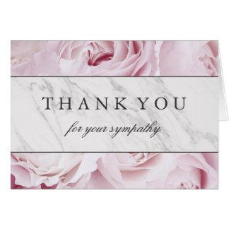 Cartão Obrigado para seus rosas & mármore da simpatia  
