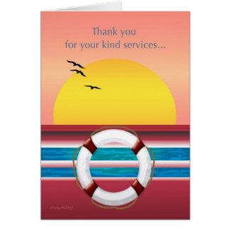 Cartão Obrigado para seus serviços - navio de cruzeiros